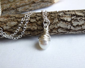 Freshwater Pearl Drop Necklace on Sterling Silver Chain -- Bridesmaids Gift