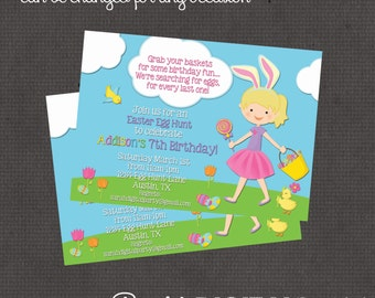 Easter Birthday Party or Egg Hunt Boy or Girl Invitation 4x6 or 5x7 digital you print your own- Design 173