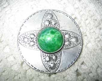 Antique Pewter Peking Glass Brooch 100 Year Old