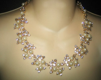 Vintage Art Deco Rhinestone & Simulated Pearl Spray Necklace