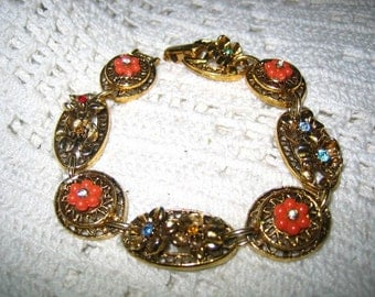 Vintage Rhinestone Thermoset Linked Bracelet Signed Art