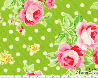 Flower Sugar Spring 2013 by Lecien - Roses with White Dots on Green 30747 60