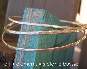 "Handmade ""Freeform Trio"" Bangles - Hammered - Forged Metal - Bracelets - Sterling Silver - OOAK"