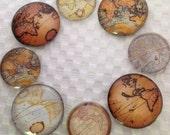 Glass Fridge Magnets Old World Maps (set of 8)