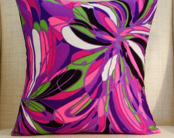 16 x 16 Pillow Cover - Vintage Mod Fabric - Purple, Pink & Chartreuse Abstract Floral (extremely limited supply)