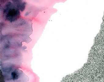 AURORA BOREALIS abstract watercolor art print in pink  and purple