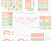 Printable Easter Party Package, Party Supplies, Decoration, Holiday Party Kit, Set, Bunny Easter Printables -- Editable, Instant