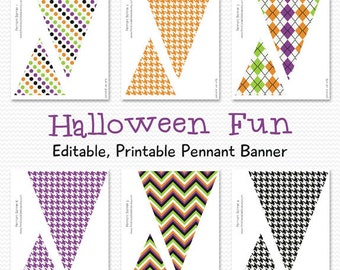 Halloween Pennant Banner, Bunting, Party Decor, Halloween Decoration, Halloween Party Supplies -- Printable, Instant Download