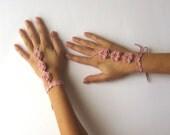 Spring Flower Cuffs Crochet Bridal Cuffs Wedding Fingerless Mittens Bridal Hand Jewelry Dusty Rose Hand Wrist Cuffs - SC0002