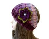 Flower Headband,  warm knit headband, knitting, unique gift, fashion, winter trend, 2014 trendy
