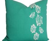 Turquoise Pillows - Pillows with Turtles - Kravet KURA KURA - Decorative Pillow - Outdoor Pillows - Outdoor Home Decor - Turtle Pillows