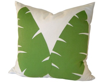 APPLIQUED Pillow - Green Pillow - Suede Pillow Cover - Decorative Pillow - Tropical Pillow - Green Accent Pillow - APPLIQUED Pillow