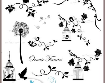 ORNATE FANCIES with white details - 19 piece Digital clip art set for personal and commercial use. Png & Jpeg files.