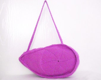 SALE DISCOUNT Purple  color Crocheted Handbag afghan crochet pink bag spring fashion