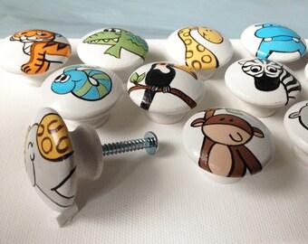 Animal Drawer Pulls / Dresser Knobs / Closet Handles / Hand Painted for Boys, Girls, Kids, Nursery Rooms (White Background)
