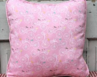Pink Bicycle Pillow