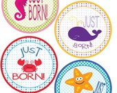 ADD ON Just Born Stickers for Baby, Just Born Stickers  - Ocean Life Theme - Just Born Stickers -Baby Shower Gift - Baby