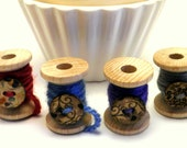 Wool Thread Bracelet on Wood Spool Flower Button one piece
