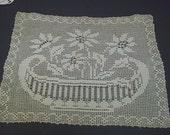 Vintage Crochet Flowers In Vase Ecru Doily