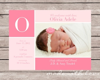 Pretty in Pink-A Simple and Stylish Custom Photo Birth Announcement for Baby Boy or Girl