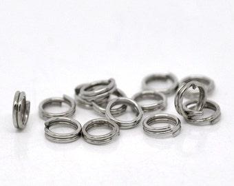 50 Silver Tone Double Loops Split Rings Open Jump Rings 5mm  jum0066