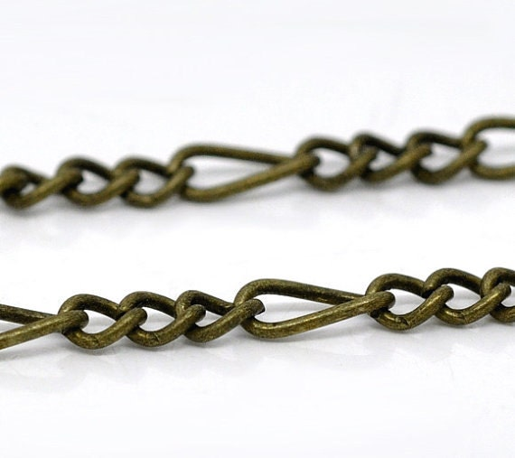 10 feet of Bronze Tone MOTHER and SON Chain . twist curb chain . unsoldered links  CH0053