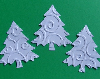30 White Swirl Christmas Tree Evergreen Die Cuts - Paper Punches - Scrapbooking Embellishments - Tags
