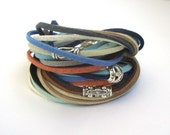SALE Wrap Bracelet / Boho Chic / Leather Bracelet / blue beige  brown