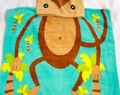 Personalized Hooded Beach Towel, Monkey