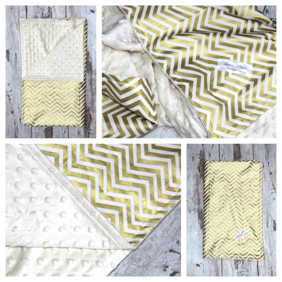 The MONROE- Boutique Minky Blanket with Metallic Gold Chevron Print - Baby Gift / Shower Gift