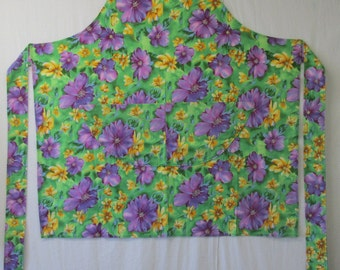 Bib Apron (Purple/Yellow Flowers on Green Background)