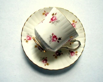 Vintage Royal Stafford Cup and Saucer Pink Roses English Bone China