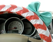 Steering Wheel Cover Bow, Coral Chevron Steering Wheel Cover with Seafoam Blue Bow, Orange Chevron Wheel Cover and Blue Bow BF11110
