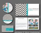 INSTANT DOWNLOAD : Brown & Teal Chevron Mini Photography Branding Set