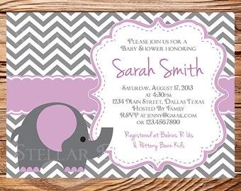 Elephant Baby Shower Invitation, Baby Shower Elephant Invite, BOY, Girl, Gray, Purple, baby shower girl, digital, 1259