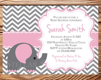 Elephant Baby Shower Invitation, Baby Shower Elephant Invite, BOY, Girl, Gray, pink, baby shower boy, girl, digital, 1258