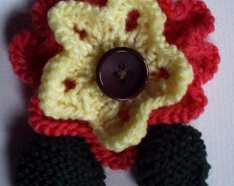 OOAK hand knitted flower brooch pin. Salmon and yellow. On sale