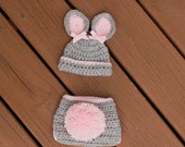 Newborn Bunny Hat and Diaper Cover Set, Newborn Photo Prop, Gray And Pink Hat, Newborn Easter Hat, Hat With Bows, Diaper Cover, Soaker