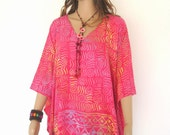 Shocking Pink Bali Batik Beach Top Tunic Kaftan Caftan Poncho Dress Blouse Loungewear Cover Up Bridesmaids Pregnant Plus Size 3X 4X 5X