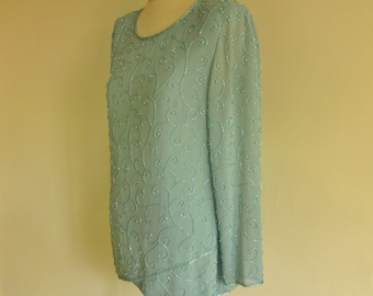 Large 80s beaded top, beaded blouse, 80s fashion, aqua blouse, sparkly tunic, evening separates , cruise wear