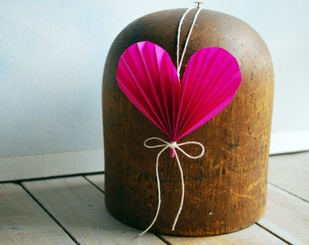 Valentine Heart Ornament,  Hot Pink Paper Valentine Ornament, Mothers Day Gift, Paper Anniversary Wedding Gift