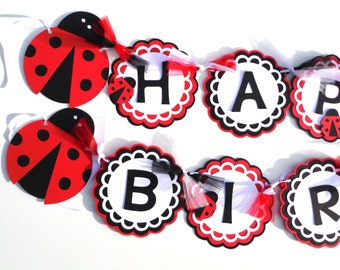 Red Ladybug Garden Themed Birthday Party Banner With Solid Black Letters