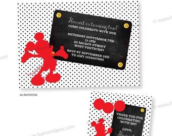 Mickey Mouse Inspired Invitation Set DIY Printable