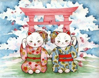 Maneki Neko Japenese Fantasy Art Print