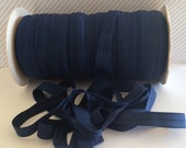 "Navy Blue Elastic Trim  5/8"" inch FOE  #370 Fold Over Elastic Shiny Satin Soft Solid FOE 5 or 10 yards trim DIY Headbands Hair Ties"