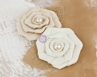 Prima fabric flowers La Tela  Vinage Pearl - 571160  natural & warm white vintage coiled canvas  fabric flowers with pearl centers (2 pcs)