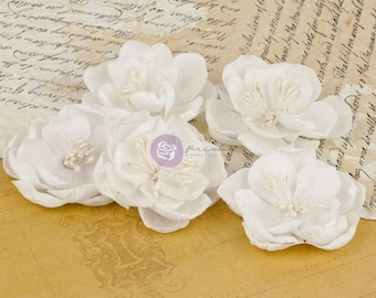 """2"""" Fabric flowers vintage assorted colors  floral Serenity 517320 - (5 pcs) flower embellishment - white flowers baby wedding bridal flowers"""