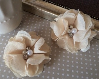 "Chiffon Flowers Vintage Cream with rhinestones & pearl centers (4 pcs) Whitney shabby chiffon layered flowers 2.5"" Hair shoe headband"