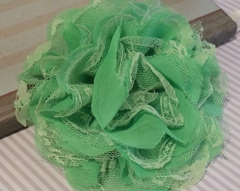 "Large Lime Green Shabby Chic Frayed Chiffon Mesh and Lace Rose Fabric Flower Pink  5"" Chiffon Frayed Lace hair flowers brooch headband"