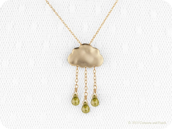 Rain Cloud Necklace //  Gold Filled Jewelry // Green Cloud Jewelry //